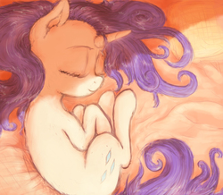 Size: 3227x2809 | Tagged: safe, artist:plotcore, rarity, pony, unicorn, atg 2017, curled up, cute, eyes closed, female, mare, newbie artist training grounds, raribetes, sleeping, smiling, solo, spread out hair, stray strand
