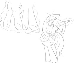 Size: 1299x1107   Tagged: artist needed, safe, twilight sparkle, oc, oc:anon, alicorn, pony, anon pony, female, floating, folded wings, glowing horn, grayscale, head tilt, horn, implied transformation, levitation, lineart, magic, mare, monochrome, simple background, smiling, standing, telekinesis, twilight sparkle (alicorn), white background