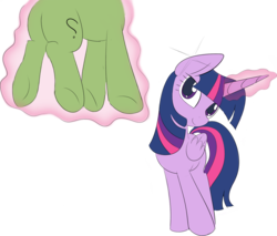 Size: 1299x1107   Tagged: artist needed, safe, color edit, edit, twilight sparkle, oc, oc:anon, alicorn, pony, anon pony, background removed, colored, female, floating, folded wings, glowing horn, head tilt, horn, implied transformation, levitation, magic, simple background, smiling, standing, telekinesis, transparent background, twilight sparkle (alicorn)