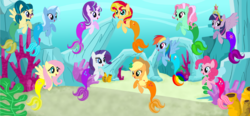 Size: 2488x1152 | Tagged: safe, artist:magpie-pony, artist:selenaede, artist:user15432, applejack, fluttershy, juniper montage, minty, pinkie pie, rainbow dash, rarity, starlight glimmer, sunset shimmer, trixie, twilight sparkle, alicorn, earth pony, mermaid, merpony, pegasus, pony, seapony (g4), unicorn, base used, crown, element of magic, equestria girls ponified, irony, jewelry, mane six, mermaidized, mermarity, not fiery shimmer, ponified, regalia, seaponified, seapony fluttershy, seapony minty, seapony pinkie pie, seapony rainbow dash, seapony rarity, seapony starlight glimmer, seapony sunset, seapony trixie, seapony twilight, species swap, twilight sparkle (alicorn), underwater, watershy