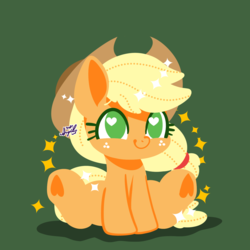 Size: 1536x1536 | Tagged: safe, artist:snow angel, applejack, earth pony, pony, chibi, cowboy hat, cute, female, freckles, green background, hat, heart, heart eyes, heart hoof, jackabetes, mare, no pupils, simple background, smiling, solo, stetson, underhoof, wingding eyes