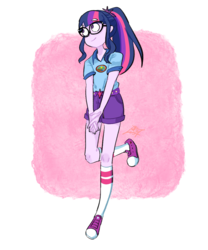 Size: 1000x1200 | Tagged: artist:tamoqu, clothes, converse, equestria girls, female, glasses, legend of everfree, looking away, ponytail, safe, sci-twi, shirt, shoes, shorts, smiling, sneakers, socks, solo, t-shirt, twilight sparkle