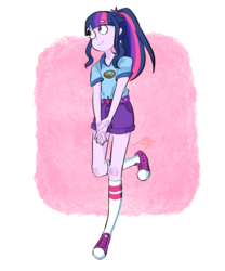 Size: 1000x1200 | Tagged: artist:tamoqu, clothes, converse, equestria girls, legend of everfree, missing accessory, ponytail, safe, sci-twi, shirt, shoes, shorts, smiling, sneakers, solo, twilight sparkle