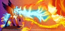Size: 6320x3000 | Tagged: safe, artist:darsiaradianthorner, princess celestia, alicorn, pony, colored text, colored wings, crying, doctor who, female, fire, gradient background, gradient hooves, gradient wings, mane of fire, meme, parasite, rage face, reference, solo, stars, text