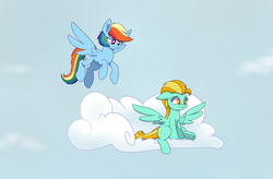 Size: 1600x1050 | Tagged: artist:heir-of-rick, cloud, female, flying, lightning dust, mare, pegasus, pony, rainbow dash, safe, sky