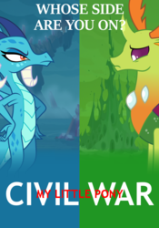 Size: 700x1000 | Tagged: captain america, captain america: civil war, changedling, changeling, crossover, dragon, dragoness, female, king thorax, marvel, poster, princess ember, safe, split screen, thorax, title drop, triple threat