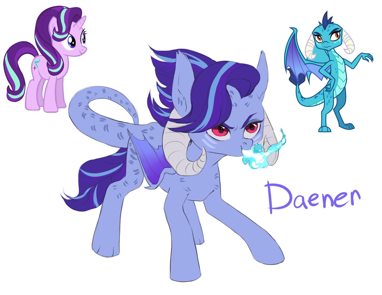 1519192 Artist Halfthecat Dracony Dragon Fire Breath Fusion Hybrid Pony Princess Ember Safe Smiling Starlight Glimmer