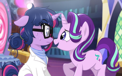 Size: 900x560 | Tagged: safe, artist:ta-na, sci-twi, starlight glimmer, twilight sparkle, pony, unicorn, equestria girls, clothes, equestria girls ponified, friendshipping, glasses, lab coat, magic mirror, mirror, nervous, open mouth, ponified, raised hoof, sitting, twilight's castle