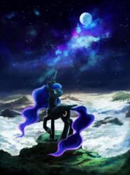 Size: 1314x1763 | Tagged: safe, artist:r0b0tassassin, princess luna, alicorn, pony, cloud, female, folded wings, jewelry, looking away, mare, moon, mountain, raised hoof, regalia, scenery, sky, smiling, solo, space, stars
