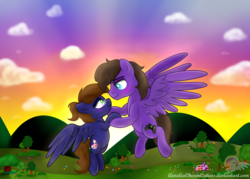 Size: 5432x3900 | Tagged: anniversary, artist:aureliacharmcutiees, flight, flying, loving gaze, oc, oc:nightwind, oc only, pony, romance, safe, sunrise