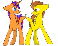 Size: 1002x797 | Tagged: safe, artist:thepierules, oc, oc only, oc:david ness, oc:toffee, alicorn, earth pony, pony, alicorn oc, colored pupils, gay, heart, hoofbump, looking at each other, male, oc x oc, shipping, simple background, stallion, transparent background
