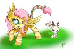 Size: 1200x800 | Tagged: angel bunny, artist:klemm, atg 2017, fangs, female, fluttershy, jackalope, mare, newbie artist training grounds, pony, sabertooth pony, safe, simple background, tiger
