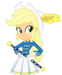 Size: 816x978 | Tagged: safe, artist:haleyc4629, artist:mewtwo-ex, applejack, equestria girls, friendship games, adorable face, base used, baton, beautiful, beautiful eyes, beautiful hair, cheerleader, cheerleader outfit, clothes, cowboy hat, cowgirl, cute, drum major, eye lashes, feather, feather hat, female, freckles, gloves, green eyes, hands on hip, hat, jackabetes, pleated skirt, skirt, smiling, solo, stetson, uniform, woman, yellow hair