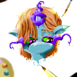 Size: 1200x1200 | Tagged: artist:karrionnut, canvas, dark magic, magic, oc, oc:ivory canvas, oc only, paintbrush, painting, pallete, pony, safe, solo, sombra eyes, surreal