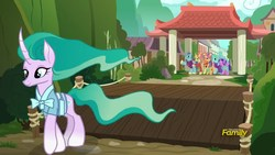 Size: 1920x1080 | Tagged: safe, screencap, cinnamon tea, floating lotus, mistmane, morning fog, sable spirit, pony, unicorn, campfire tales, clothes, curved horn, departure, discovery family logo, ethereal mane, female, flowing mane, mare
