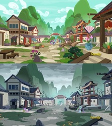 Size: 1276x1432 | Tagged: safe, screencap, floating lotus, mistmane, morning fog, sable spirit, pony, unicorn, campfire tales, beautiful, before and after, devastation, discovery family logo, flashback, mountain, oppression, poverty, scenery, sin of envy, sin of greed, tragedy, vile, village