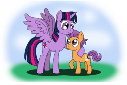Size: 4000x2672 | Tagged: alicorn, artist:uniqueskd, commission, cute, female, male, pony, safe, shipping, straight, straight shota, tenderbetes, tender taps, twiabetes, twilight is a foal fiddler, twilight sparkle, twilight sparkle (alicorn), twitaps