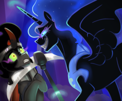Size: 2000x1667 | Tagged: safe, artist:mylittlegodzilla, king sombra, nightmare moon, alicorn, pony, unicorn, fall of the crystal empire, evil grin, fangs, female, grin, male, mare, missing accessory, scared, scythe, smiling, sombra eyes, stallion