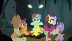 Size: 1366x768 | Tagged: safe, screencap, apple bloom, applejack, dragon lord torch, rainbow dash, rarity, scootaloo, sweetie belle, dragon, pony, campfire tales, cave, cutie mark crusaders, discovery family logo, dragon lord, eye, eyes, freeze frame, gravity falls