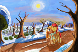 Size: 6000x4000 | Tagged: safe, artist:hyper dash, bright mac, pear butter, pony, the perfect pear, brightbutter, clothes, female, male, scarf, shared clothing, shared scarf, shipping, snow, straight, sun, tree