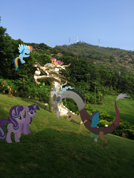 Size: 2448x3264 | Tagged: artist:eflyjason, china, discord, irl, photo, ponies in real life, rainbow dash, safe, scootaloo, shenzhen, starlight glimmer, twilight sparkle