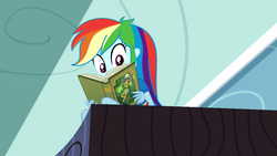 Size: 1920x1080 | Tagged: book, daring do, eqg summertime shorts, equestria girls, leaping off the page, rainbow dash, reading rainbow, safe, screencap, solo