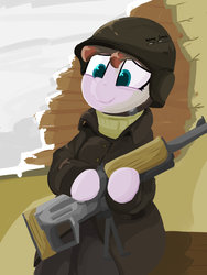 Size: 1512x2016 | Tagged: artist:coatieyay, artist:dimfann, clothes, coat, gun, helmet, hoof hold, military, military uniform, oc, oc only, pony, safe, sitting, smiling, snow, solo, weapon