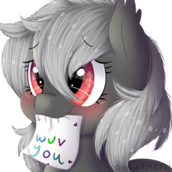 Size: 2000x2000   Tagged: source needed, safe, artist:donutnerd, oc, oc only, oc:dusty fang, bat pony, pony, bat pony oc, blushing, bust, cute, fluffy, mouth hold, note, portrait, shy, simple background, solo, transparent background