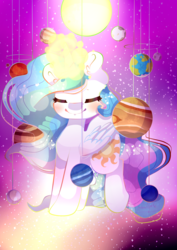 Size: 1240x1748 | Tagged: artist:cometsparke, celestial mechanics, chibi, eyes closed, glowing horn, planet, princess celestia, safe, smiling, solar system, solo, stars, sun