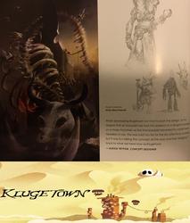 Size: 963x1131 | Tagged: safe, artist:alexia tryfon, artist:steve prescott, dragon, gnoll, jackalope, my little pony: the movie, the art of my little pony: the movie, bone, comparison, concept art, crystal, desert, ettin, horn, klugetown, metal as fuck, multiple heads, skeleton, skull, three horns, two heads