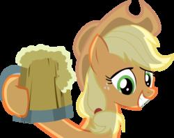 Size: 5000x3965 | Tagged: safe, artist:laberoon, applejack, earth pony, pony, the super speedy cider squeezy 6000, absurd resolution, cider, cider mug, cowboy hat, female, grin, hat, high res, hoof hold, hooves, mare, mug, simple background, smiling, solo, tankard, transparent background, vector