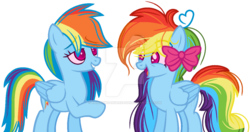 Size: 1024x542 | Tagged: safe, artist:bezziie, rainbow dash, pony, double rainbow, duality, high, self ponidox, simple background, transparent background