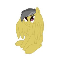 Size: 976x1048 | Tagged: safe, artist:neuro, daring do, pegasus, pony, cute, daring dorable, female, mare, missing accessory, missing cutie mark, simple background, sitting, smiling, solo, spread wings, transparent background, wing fluff, wings