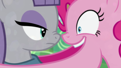 Size: 1920x1080 | Tagged: artist:dtkraus, boop, duo, earth pony, edit, female, goddammit kraus, looking at each other, mare, maud pie, noseboop, open mouth, pinkie pie, pony, rock solid friendship, safe, screencap, scrunchy face, shrunken pupils, sisters, wat