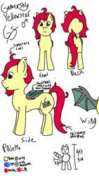 Size: 720x1280 | Tagged: safe, artist:gamer-shy, oc, oc only, oc:gamershy yellowstar, bat pony, pony, front view, height, male, palette, probably forgot tags, rear view, reference sheet, side view, solo, stallion, wings