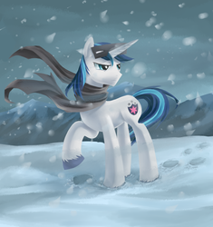 Size: 800x850 | Tagged: artist:aurarrius, clothes, male, pony, raised hoof, safe, scarf, shining armor, snow, snow goggles, solo, stallion, the crystal empire, unicorn