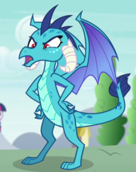 Size: 429x542 | Tagged: angry, claws, cropped, dragon, furious, hands on waist, horns, insulted, looking down, open mouth, princess ember, safe, screencap, solo focus, spread wings, toes, triple threat, wings