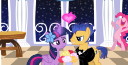 Size: 1006x512 | Tagged: alicorn, artist:mooberrie101, couple, earth pony, female, flashlight, flash sentry, love, male, pegasus, pinkie pie, pony, prom, safe, shipping, straight, twilight sparkle