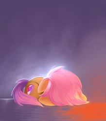 Size: 2611x3000 | Tagged: artist:sea-maas, campfire tales, cute, cutealoo, female, filly, floppy ears, pegasus, pony, sad, safe, scared, scootaloo, simple background, sobbing, solo