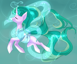 Size: 3000x2500 | Tagged: safe, artist:boresuser, mistmane, pony, unicorn, campfire tales, beautiful, blue background, clothes, curved horn, dragon spirit, ethereal mane, eyes closed, female, flowing mane, high res, levitation, magic, magic dragon, mare, robe, self-levitation, simple background, solo, telekinesis