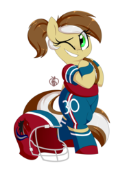Size: 1500x2000 | Tagged: safe, artist:notenoughapples, oc, oc only, oc:first down, pony, unicorn, american football, bipedal, clothes, commission, female, football helmet, helmet, mare, one eye closed, simple background, solo, transparent background, wink