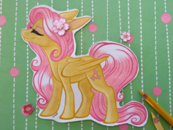 Size: 3949x2962   Tagged: safe, artist:emberslament, artist:lullabyprince, fluttershy, pegasus, pony, collaboration, colored pencil drawing, craft, eyes closed, female, flower, flower in hair, mare, prismacolors, solo, traditional art
