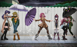 Size: 3600x2222 | Tagged: safe, artist:mauroz, applejack, fluttershy, pinkie pie, rainbow dash, rarity, twilight sparkle, human, clothes, converse, eyes closed, fence, humanized, mane six, movie reference, music notes, open mouth, rain, sad, scenery, shoes, sidewalk, singing, singing in the rain, stormcloud, umbrella