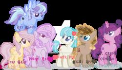 Size: 1024x589   Tagged: safe, artist:pinkstarlights2, oc, oc only, earth pony, pegasus, pony, unicorn, female, magical lesbian spawn, mare, next generation, obtrusive watermark, offspring, parent:cloudchaser, parent:coco pommel, parent:fleur-de-lis, parent:flitter, parent:fluttershy, parent:nightmare moon, parent:pinkie pie, parent:rainbow dash, parent:rarity, parent:sugar belle, parent:twilight sparkle, parents:flittershy, parents:marshmallow coco, parents:rainbowchaser, simple background, transparent background, watermark
