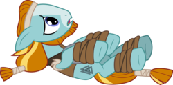 Size: 6103x3001 | Tagged: safe, artist:cloudyglow, rockhoof, earth pony, pony, campfire tales, .ai available, absurd resolution, looking up, lying down, male, on back, simple background, solo, stallion, transparent background, valknut, vector, younger