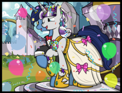 Size: 6765x5159   Tagged: safe, artist:paperlover, night light, twilight velvet, pony, unicorn, absurd resolution, balloon, clothes, confetti, cute, dress, female, horn ring, jewelry, male, mare, marriage, nightvelvet, one eye closed, ring, shipping, stallion, straight, tuxedo, wedding, wedding dress, wedding ring, wink