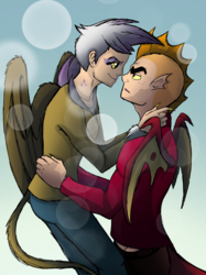 Size: 2048x2732   Tagged: safe, artist:percy-mcmurphy, garble, gilda, human, clothes, female, freckles, garilda, humanized, looking at each other, male, shipping, straight, tailed humanization, winged humanization, wings