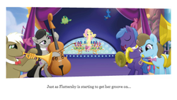 Size: 1136x640 | Tagged: safe, beauty brass, fluttershy, frederic horseshoepin, octavia melody, parish nandermane, my little pony: the movie, spoiler:my little pony movie the junior novel, canterlot, musical instrument, stage, text, trumpet, tuba, violin