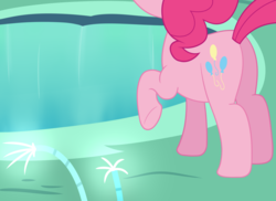 Size: 1868x1360 | Tagged: safe, artist:djdavid98, pinkie pie, pony, too many pinkie pies, atg 2017, butt, cave, cave pool, mirror pool, newbie artist training grounds, offscreen character, plot, simple background, solo