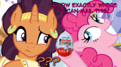 Size: 1366x762 | Tagged: safe, edit, edited screencap, screencap, pinkie pie, saffron masala, pony, canterlot, dialogue, food, kinder egg, looking at each other, manip, toy
